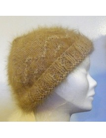 Bonnet vague camel 100% angora