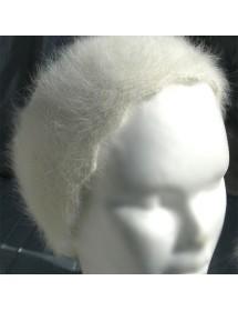 blanc Bandeau fourrure Serre tête 100% angora