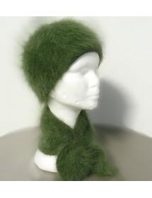 Ensemble bonnet +écharpe cravate bruyère 100% angora
