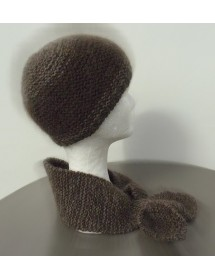 Ensemble bonnet +écharpe cravate chiné  marron   80% angora