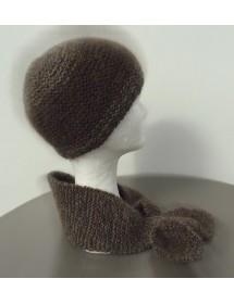 Ensemble bonnet +écharpe cravate chiné  marron   80% angora