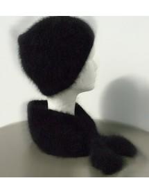 Ensemble bonnet +écharpe cravate noir   80% angora