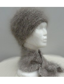 Ensemble bonnet +écharpe cravate garenne écru 100% angora