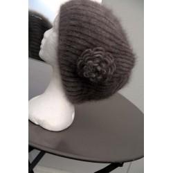 havane Bonnet beret à Fleur 100% angora