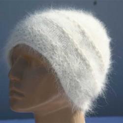 Bonnet de Ville blanc 100% angora
