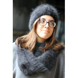 Bonnet Turban noir 100% angora