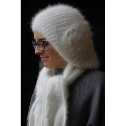 Bonnet beret à Fleur 100% angora écru