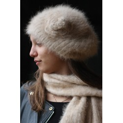Bonnet beret à Fleur 100% angora camel