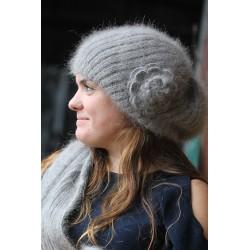 Bonnet beret à Fleur 100% angora anthracite