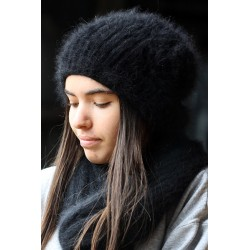 Bonnet beret à Fleur 100% angora noir
