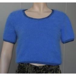 bleu 80% angora petit pull T.1