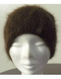 Bonnet jersey chiné écru chataigne foncé 80% angora