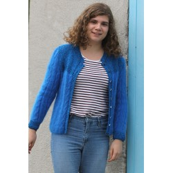 Pull bleu plastron 80% angora