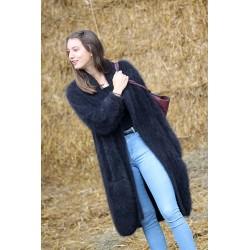 Manteau noir 100% angora T.40/42